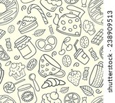 hand drawn dessert seamless... | Shutterstock .eps vector #238909513
