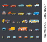 stylish retro car line icons... | Shutterstock .eps vector #238940707