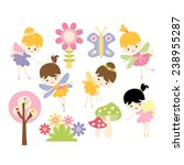 spring fairies vector. girls... | Shutterstock .eps vector #238955287