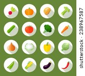 vegetables icons flat set with... | Shutterstock .eps vector #238967587