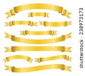 set of golden ribbons and... | Shutterstock .eps vector #238973173