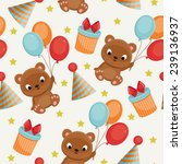 seamless birthday pattern with... | Shutterstock .eps vector #239136937