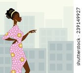 dark skinned woman in the city  ... | Shutterstock .eps vector #239149927