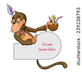 Monkey With Coconut Vector...