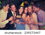 attractive friends celebrating... | Shutterstock . vector #239272447