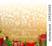 golden bokeh with gift box  | Shutterstock . vector #239313433