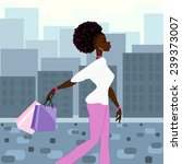 dark skinned woman shopping in... | Shutterstock .eps vector #239373007