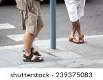 a man at the bus stop | Shutterstock . vector #239375083
