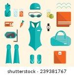 swimming pool set. water sport  ... | Shutterstock .eps vector #239381767