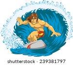 surfer rides a blackboard...   Shutterstock .eps vector #239381797