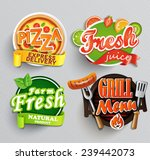 set of stickers of food farm... | Shutterstock .eps vector #239442073