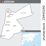 Map of Jordan - stock vector