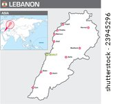 Map of Lebanon - stock vector