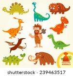 Set Funny Prehistoric Animals....