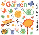 colorful garden elements cute... | Shutterstock .eps vector #239511883