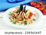 tasty pasta with shrimps ... | Shutterstock . vector #239561647