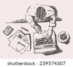 sketch of man with computer ... | Shutterstock .eps vector #239574307