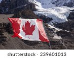 Small photo of The maple leaf of the Canadian Flag flutters in a brisk wind. In the background, the main glacier of Mount Andromeda tumbles from the summit headwall.