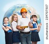 children of school age trying... | Shutterstock . vector #239707507