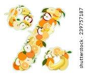 percent mark made of fruits.... | Shutterstock .eps vector #239757187