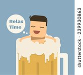 Relax Time With Beer  Vector...