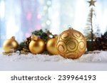 christmas composition on snow... | Shutterstock . vector #239964193