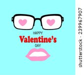hipster glasses and the lips on ... | Shutterstock .eps vector #239967907