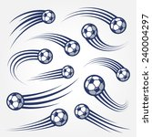collection of soccer balls with ... | Shutterstock .eps vector #240004297