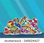 pile of shoes vector pop art