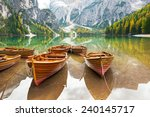 closeup on boats on lake braies ...   Shutterstock . vector #240145717
