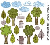 trees  leaves  clouds. set of...   Shutterstock .eps vector #240149077