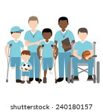 disabled children with friends... | Shutterstock .eps vector #240180157