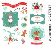 christmas cute graphic elements ... | Shutterstock .eps vector #240277897
