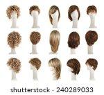 hair wig over the white plastic ... | Shutterstock . vector #240289033
