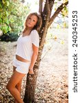beautiful blonde young woman... | Shutterstock . vector #240345253