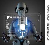 robot woman manipulatihg...   Shutterstock . vector #240376603