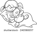 black and white cartoon vector... | Shutterstock .eps vector #240580057