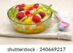 fresh fruit salad served in a... | Shutterstock . vector #240669217