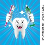 cartoon smiling tooth with... | Shutterstock .eps vector #240671263
