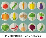 vegetable flat icon set. the... | Shutterstock .eps vector #240756913