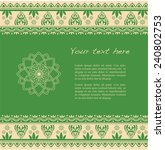traditional green and cream... | Shutterstock .eps vector #240802753