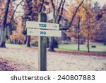rustic wooden sign in an autumn ... | Shutterstock . vector #240807883