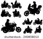 motorcyclists silhouettes... | Shutterstock .eps vector #240858013