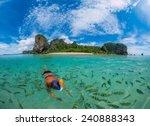 woman snorkling in poda beach... | Shutterstock . vector #240888343