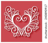 vector deco floral heart on red ... | Shutterstock .eps vector #240890917