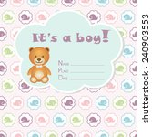 baby boy arrival card. baby... | Shutterstock .eps vector #240903553
