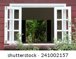 white wood window on wooden...   Shutterstock . vector #241002157