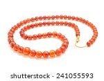 Natural Amber Necklace On White