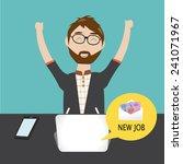 hipster man  get the new job | Shutterstock .eps vector #241071967