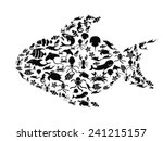 fish filled with small sea life | Shutterstock .eps vector #241215157